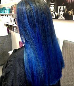 blue hair colour, cheynes hair salons, edinburgh