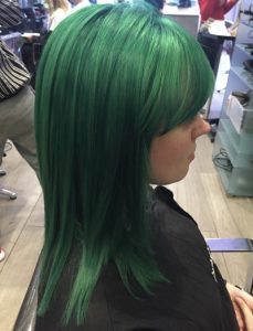 green hair colour, cheynes hair salons, edinburgh city centre