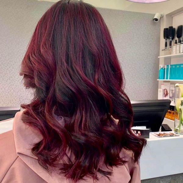 red balayage, cheynes hair salons, edinburgh